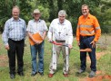 The start of construction of St Joseph's Parish School, Weipa was formally marked on April 15 with the announcement of the school name, a site blessing and ceremonial ground breaking by Bishop James Foley. Pictured L to R: Catholic Education Services Executive Director Bill Dixon, Weipa Town Authority Chairman Ian McNamara, Bishop James, and successful tenderer Max Bryant of Max Bryant Constructions. Photo courtesy of Western Cape Bulletin.