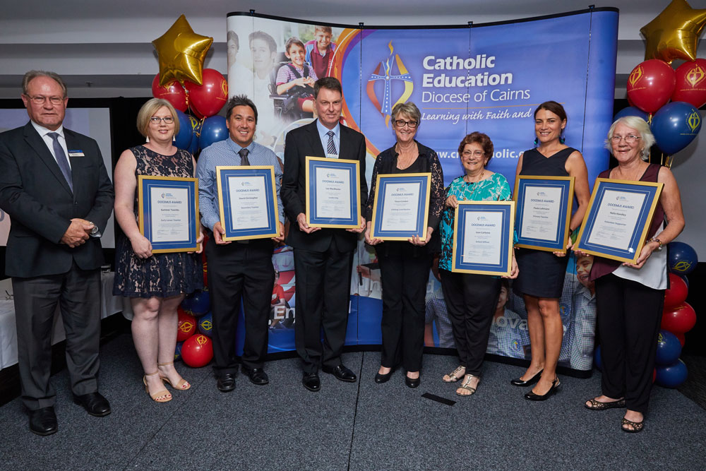 Our 7 Docemus Award winners pictured with Executive Director Bill Dixon. Early Career Teacher: Summer Toombs (OLHOC), Secondary Teacher: David Christopher (St Andrew's Catholic College), Leadership: Lee MacMaster (St Andrew's Catholic College), Lifelong Contribution: Tessa Condon (St Teresa's Ravenshoe), School Officer: Joan Carbone (OLHOC), Primary Teacher: Paula Lohmann (St Andrew's Catholic College), Volunteer Support: Nelia Handley (St Francis Xavier's).